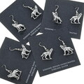 Western Silver Wolf Earrings 34480