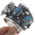 Vintage Arizona Turquoise Navajo Made Silver Watch 34572