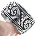 Sterling Silver Navajo Overlay Cuff Bracelet 34809