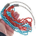 Turquoise Coral Beaded Navajo Necklace 34858