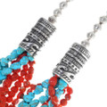 Sterling Silver Navajo Pattern Barrel Beads Necklace 34858
