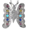 Vintage Gemstone Butterfly Pendant 34879