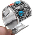 Navajo Turquoise Nugget Coral Silver Mens Cuff 28890