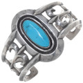 Old Pawn Turquoise Sandcast Silver Cuff Bracelet 34931
