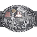 Authentic Native American Storyteller Sterling Silver Concho Belt 34950