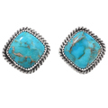 Turquoise Silver Southwest Post Earrings 34966