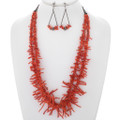Vintage Branch Coral Silver Necklace Set 35004