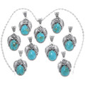 Southwest Sterling Silver Turquoise Western Pendant 35015