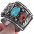 Authentic Native American Old Pawn Turquoise Watch Bracelet 35016