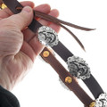 Silver Heartline Bear Symbol Leather Cowboy Hatband 35094