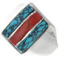 Turquoise Coral Mens Navajo Ring 35142