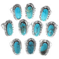 Authentic Native American Silver Turquoise Rings 35206
