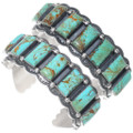 Authentic Navajo Hammered Silver Turquoise Row Bracelet 35215
