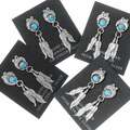 Native American Silver Feather Turquoise Earrings 35219