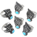 Bear Paw Tracks Turquoise Silver Rings 35234