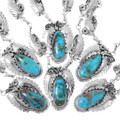 Genuine Turquoise Mountain Turquoise Cabochon Navajo Necklace 35240