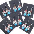 Navajo Made Sterling Silver Turquoise Earrings 35247