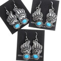 Silver Turquoise Heartline Bear Earrings 35267