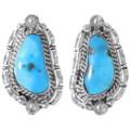 Navajo Sleeping Beauty Turquoise Silver Earrings 35271