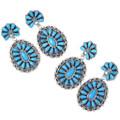 Western Turquoise Dangles Navajo Earrings 35275