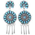 Sterling Silver Navajo Turquoise Earrings 35278
