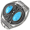 Old Pawn Turquoise Silver Navajo Cuff Bracelet 35290
