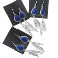 Sterling Silver Feather Lapis Earrings French Hook 35302