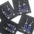 Lapis Silver Navajo Line Earrings French Hook 35303