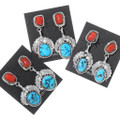 Sterling Silver Navajo Made Turquoise Coral Earrings 35306
