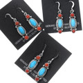 Southwest Turquoise Coral Dangle Earrings French Hook 35314