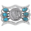 Turquoise Silver Indian Chief Belt Buckle 35321
