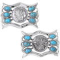 Feather Headdress Turquoise Sterling Silver Belt Buckle 35321