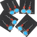 Turquoise Coral Teardrop French Hook Earrings 35322