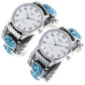 Sterling Silver Turquoise Watch Bracelets Artist Signed 35402