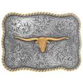 Gold Silver Longhorn Belt Buckle 35614