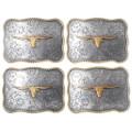 Western Rope Edge Silver Brass Longhorn Buckle 35614
