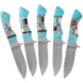Turquoise Inlaid Handle Fixed Blade Knife 35653