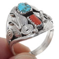 Turquoise Coral Navajo Ring 35755