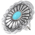Navajo Turquoise Silver Ladies Concho Ring 35792