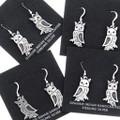 Native American Owl All Silver Earrings 35806