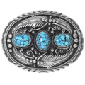 Turquoise Silver Belt Buckle 22609