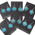 Kingman Turquoise Silver French Hook Earrings 35847