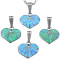 Small Opal Inlay Sterling Silver Pendants