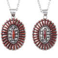 Red Coral Zuni Made Sterling Silver Western Pendant 35852
