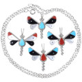 Gemstone Inlay Butterfly Pendants with Chain 35856
