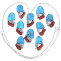 Carved Coral Turquoise Sterling Silver Pendants 35858