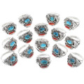 Turquoise Coral Southwest Silver Mens Rings 35873