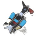 Gemstone Inlay Zuni Peyote Bird Ring 35874