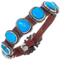 Navajo Turquoise Silver Leather Cuff Bracelet 35900