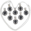 Black Onyx Sterling Silver Pendants Black and White Jewelry 35913